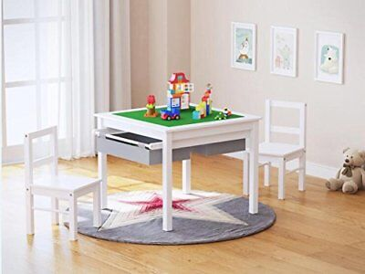 UTEX 2-in-1 Kids Multi Activity Table and 2 Chairs Set with Storage White