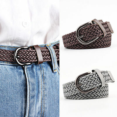 Men's Womens Jeans Waistband Waist Strap Leather Buckle Belt Casual Dress