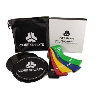 Exercise Resistance Loop Bands(Set of 5) & Core Sliders(Set of 2) Workout Fitnes