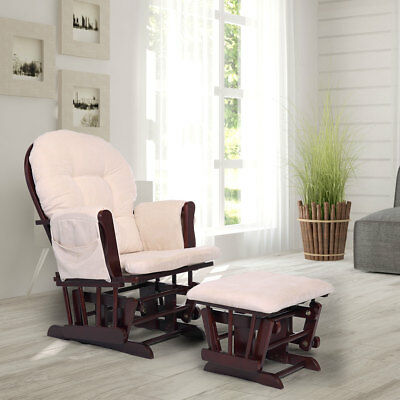 Glider&Ottoman Set Baby Nursery Relax Rocker Rocking Chair Foot Rest w/ Cushion