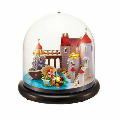 DIY Mini Wooden Dollhouse Kit Mermaid Princess Castle In Glass Ball + LED Light