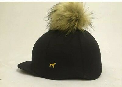 Faux fur Pom Pom Riding Hat Cover Silk Equestrian Eventing Cross Country