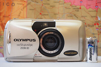 Olympus Infinity Stylus Epic Zoom 80 35mm Film Camera W/ Battery WORKS TESTED
