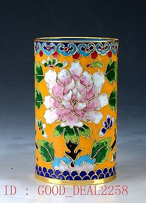Chinese  Cloisonne Hand-painted Flower Brush Pots JTL017.a