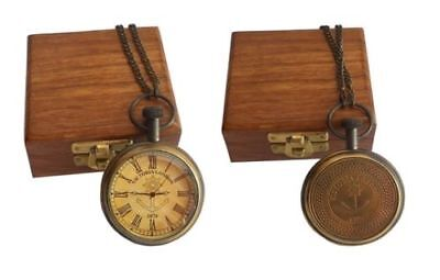 ANTIQUE BRASS VINTAGE VICTORIA LONDON 1876 POCKET WATCH with wood box Replica