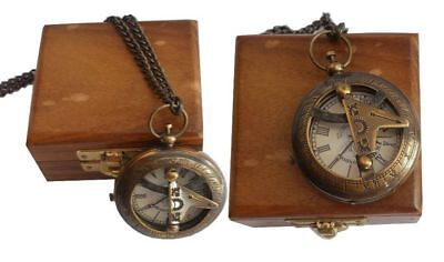 BRASS SUNDIAL VICTORIA LONDON POCKET WATCH SHIP ON DIAL with wood box Replica