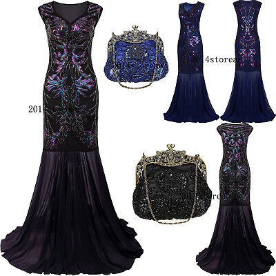 Long Prom Dresses 1920s Flapper Dress Vintage Gatsby Evening Gown Plus Size 4-20