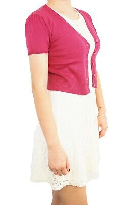 Women Vintage Cropped Short Sleeve Cardigan Soft Knit Fitted V-Neck Sweater USA
