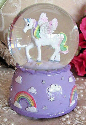 Purple Rainbow Unicorn Horse Musical Snowglobe ~ Globe ~ Glitter ~ Water Ball