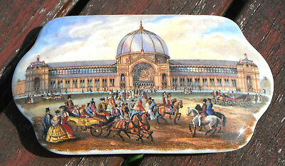 Collectible Antique Vintage Prattware Porcelain  Lid Alexandra Palace 1862