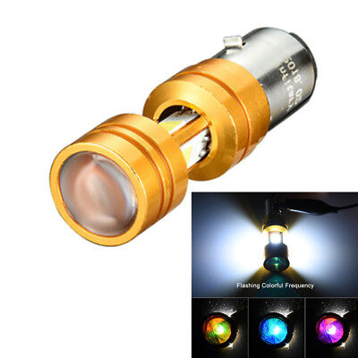 BA20D LED Moped Scooter Headlight Bulb High Low Beam Light 3-side Chip with Lens