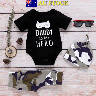 3Pcs Baby Boys Camo T Shirt Tops Pants Hat Romper Toddler Outfits Clothes Set