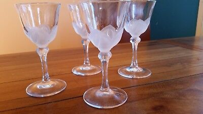 Set of 4  Cristal D'Arques J & G Durand Crystal Sherry Glasses Florence Satine