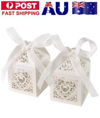 50 PCS Wedding Laser Cut Favor Bomboniere Candy Love Heart Bird Gift Box