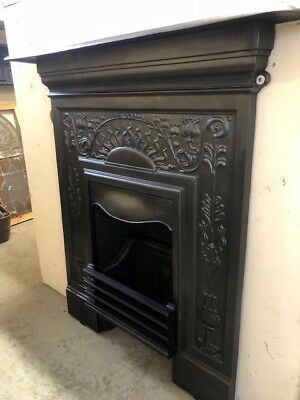 Beautiful Antique Art Nouveau Cast Iron Fireplace Fully Restored