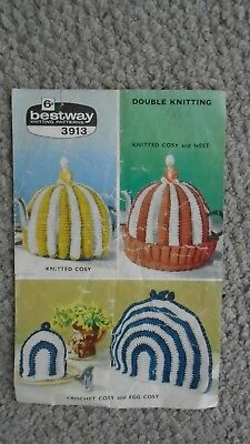 vintage knitted and crocheted tea cosy Bestway  pattern