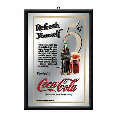 Coke 5c Coca Cola Framed Mirror Refresh Yourself 20x30cm Licensed Nostalgic Art