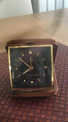 Vintage Junghans (German) 10 Jewels Travel Alarm Clock In Leather Case