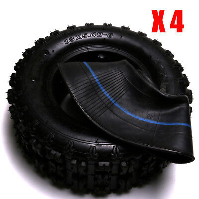 "4pcs 13x5.00-6"" Nyon Tyre Tire + Tube ATV Quad Bike Go-kart Scooter Buggy Mover"