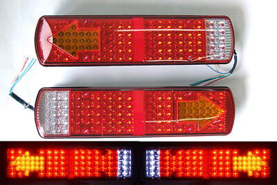 PAIR 24V LED Rear Tail Lights Lamp Trailer Truck Lorry For