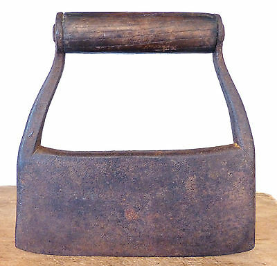 RARE Early ANTIQUE 18th C HEAVY LARGE Wrought IRON CHOPPER Chopping Knife