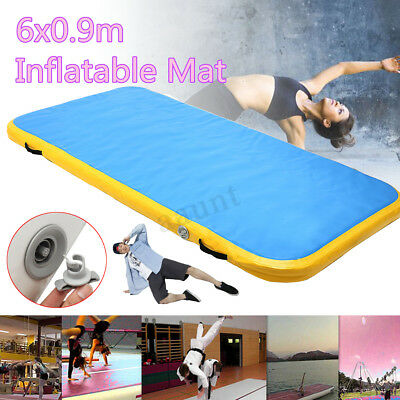 6M Inflatable Gymnastics Mat Air Practice Tumbling Airtrack Floor Home GYM+Pump