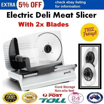 Electric Deli Meat Food Slicer 200W Cheese Processor Bread Vegetable w/ 2 BLADES