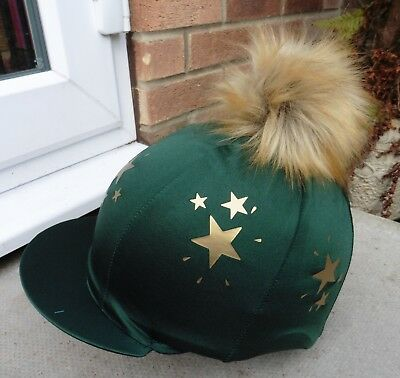 Hat Silk skull cap cover BOTTLE GREEN   GOLD STARS Extra Large Faux Fur Pompom