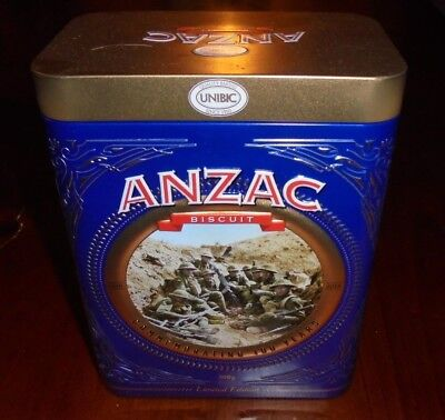 Unibic ANZAC 2018 **MONT SAINT-QUENTIN FRANCE** Biscuit tin with papers ~ VGC
