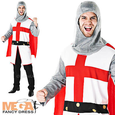 St George Knight + Cape Mens Fancy Dress Medieval Book Week Adult Costume Outfit