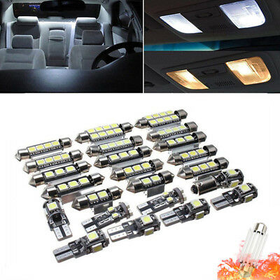 23Pcs White LED Panel Car Interior Reading Map Lamp Bulb Light Dome Festoon Kit