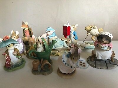 Large Collection of Beatrix Potter Ornaments Peter Rabbit, Jeremy Fisher