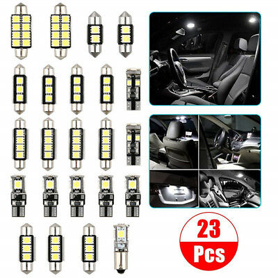 23Pcs Car Auto Lamp Bulb Interior External Pure White Dome Map Reading LED Light