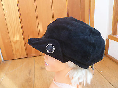 2001a19ae15 Monsoon Accessorize Black Real Suede Funky Baker Boy Hat Cap Shiny Button  New