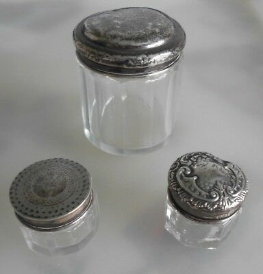 3 Antique Glass Jars with Hallmarked Silver Lids
