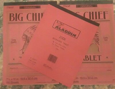 Vintage Paper Lot Mead Original Big Chief Tablet & Aladdin Beginners Tablet