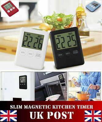 LARGE SLIM Magnetic LCD DISPLAY  Kitchen Timer Cooking Count Down Alarm FROM UK