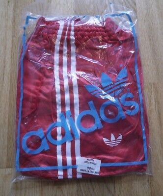 Vintage Red ADIDAS 1980s Shiny Poly Shorts Made In England 90/36 In Bag Glanz