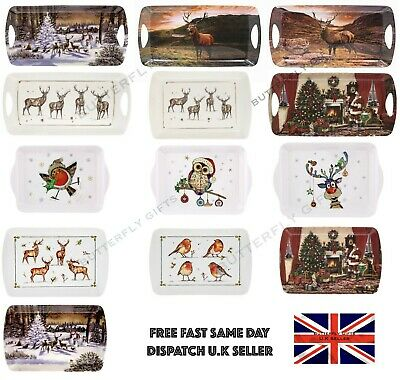 Small Medium Coffee Tea Serving Tray Xmas Santa Harbour Stag Seaside New Designs