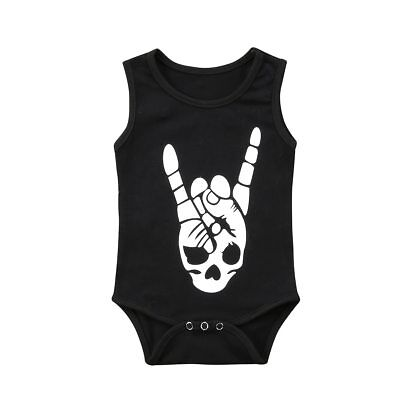 Baby Grow Romper Boy Girl, Skull Print, Punk Rock Metal Alternative Music 3 6 12