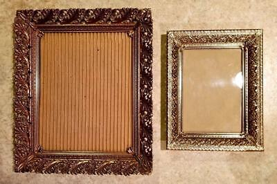 Antique Ornate Brass Photo Picture Frame Lot Filigree Victorian Style Wall Mount