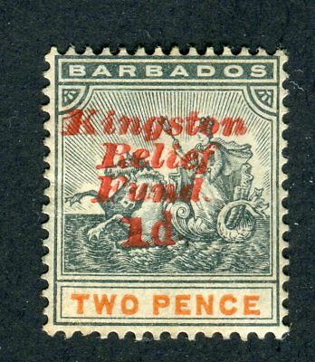 Barbados 1906. Kingston Relief Fund. 1d on 2d stamp. MH. SG 153.