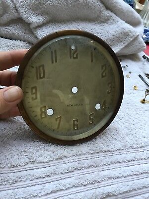 """Antique Newhaven Mantle Clock Dial Crystal Bezel Made In USA 5.75"""" Diameter"""