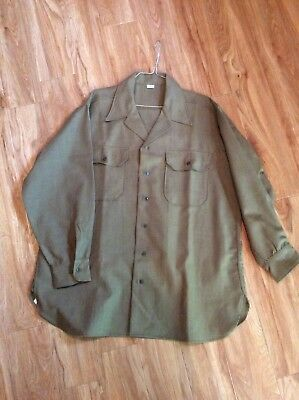 Vintage 1945 WWII US Army Mens Uniform Dress Shirt sz 17-33 WW2 NOS New Original