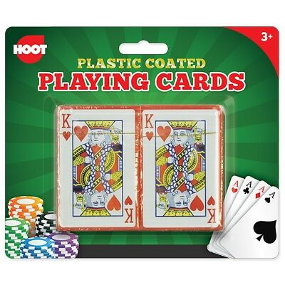 2x DECKS QUALITY PLASTIC COATED PLAYING CARDS Water Resistant Poker Game Casino
