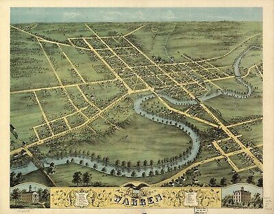 A4 Reprint of American Cities Towns States Map Warren Ohio