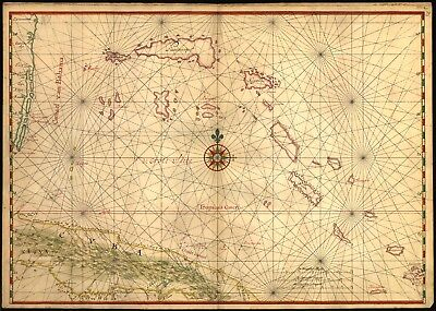 A4 Reprint of Cuban Map Cuba