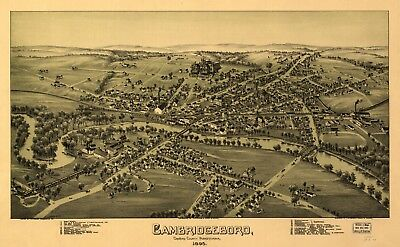 A4 Reprint of America Cities Towns States Map Cambridgeboro Pennsylvania