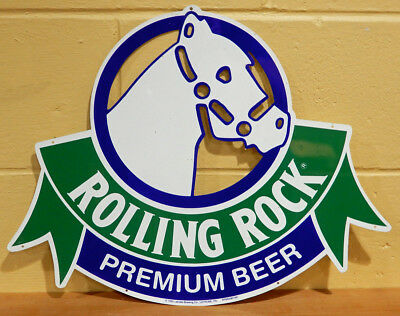 "Vintage Rolling Rock Beer Die Cut Tin Sign 1992 Latrobe Brewing Co PA 16"" x 20"""