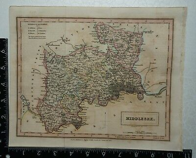 1833 Antique Original Sidney Hall Map of Middlesex